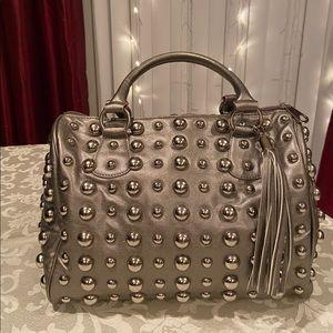 Handbags - Gray Leather Handbag (Doctor's Bag)
